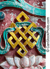 Golden endless knot in Nepal