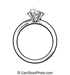 Golden engagement ring with a big shining diamond