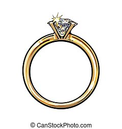 Golden engagement ring with a big shining diamond, sketch...