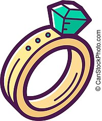 Golden engagement ring with emerald. Vector icon