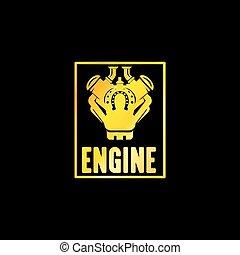 Golden Engine Emblem with Black Background