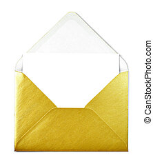 Golden envelope and white card with copy space