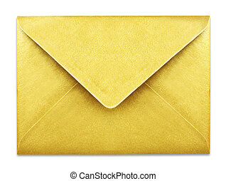 Golden envelope with copy space