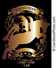 golden equestrian shield and frame vectora art