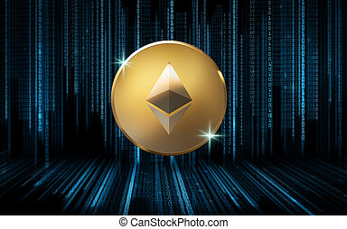 golden ether coin over binary code on black - cryptocurrency...