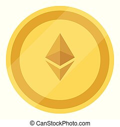 Golden ethereum coin. Crypto currency blockchain coin...