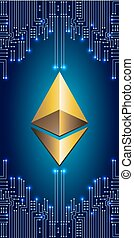Golden ethereum coin ethereum on electronic circuit...