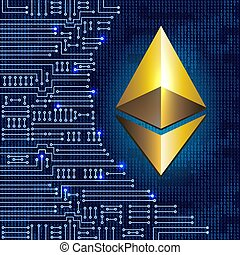 Golden ethereum coin on binary code background and...