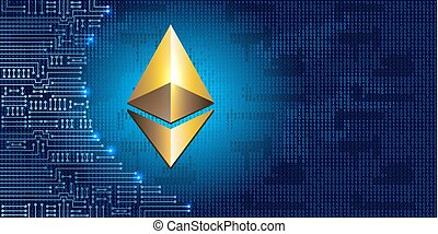 Golden ethereum coin on binary code background and ...