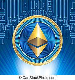 Golden ethereum coin on electronic circuit background -...