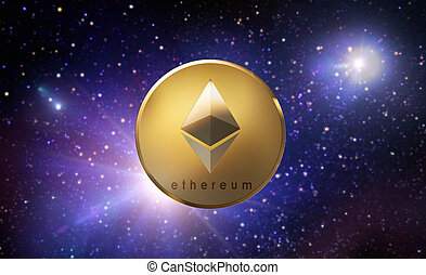 golden ethereum coin over space - cryptocurrency, financial ...