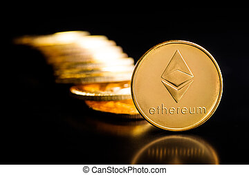 Golden ethereum coins. - Golden ethereum coins on black ...