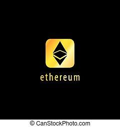 Golden Ethereum Vector Icon, Illustration, Eps File