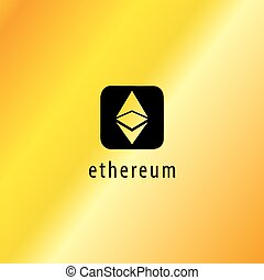 Golden Ethereum Vector Icon, Illustration, Eps File