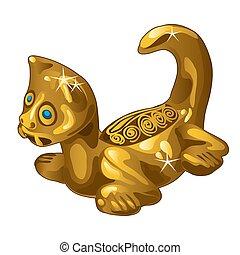 Golden ethnic figurine cat isolated on white background. Vector illustration.