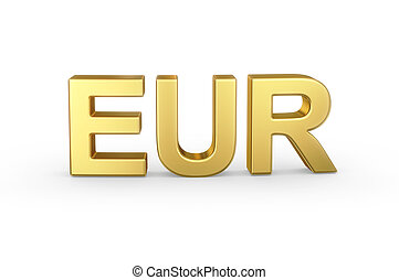 Golden EUR currency shortcut on white