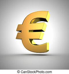 Golden Euro - 3d golden euro symbol closeup