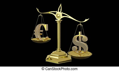 Golden euro and dollar signs 3D