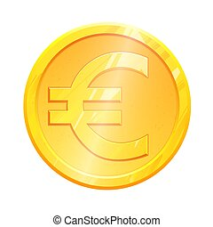 Golden euro coin symbol on white background. Finance investment concept. Exchange European currency Money banking illustration. Business income earnings. Financial sign stock market