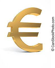 Golden euro sign. 3D image