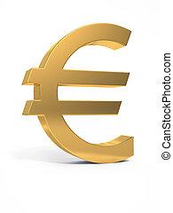 Golden euro sign. 3D image