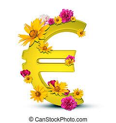 Golden euro sign