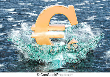 Golden euro symbol on the water with splashing, 3D rendering