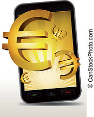Golden Euros Inside Smartphone - Illustration of a...
