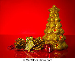 Golden evergreen with Christmas decorations