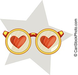 Golden eye glasses with red hearts in a light grey star vector illustration on white background.