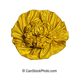 Golden fabric flower isolated