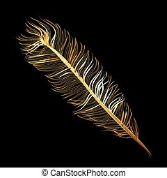 Golden Fabulous feather of bird