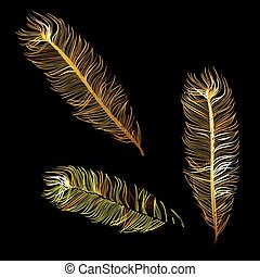 Golden Fabulous feather of bird