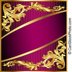 gold(en), faixa, ornamento, fundo, lilás