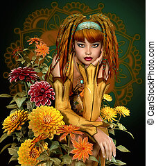 Golden Fall - a girl with dreadlocks sits in the middle of...