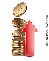 Golden falling coins in pile and red arrow up