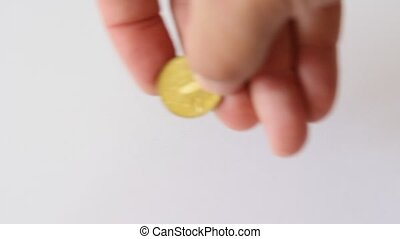 golden falling coins isolated on wh