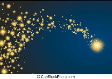 Golden Falling Star with Sparkling Tail. Vector comet,...