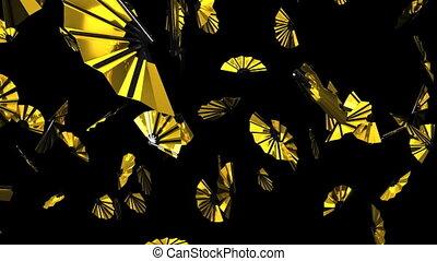 Golden fans on black background