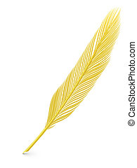 Golden feather quill over white background. High resolution...