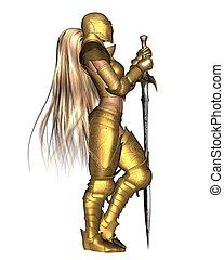 Golden Female Fantasy Warrior - 1