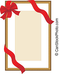 Golden festive frame with ribbon