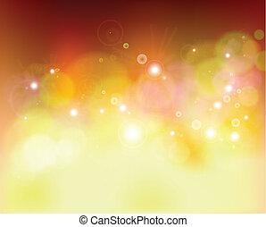 Golden festive lights background. Vector illustration