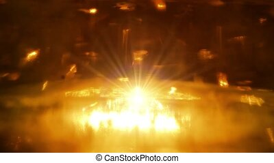 Golden festive lights. Star flies up from the glow