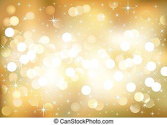 Golden festive lights, vector background.
