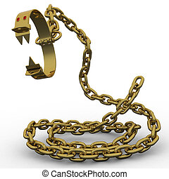 gold rush - Golden fetters with chain symbolize predatory ...