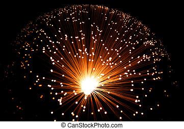 Golden fibre optic strands. - Overhead view capturing a...