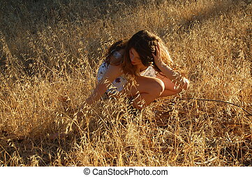 Golden Field - Model going to sit in a golden field of weeds...