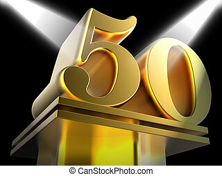 Golden Fifty On Pedestal Meaning Movie Awards Or Recognition