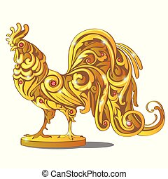 Golden Figurine Of Rooster Inlaid With Red Precious Stones, Rubies Isolated On White Background. Sample Of The Poster, Invitation And Other Cards. Vector cartoon close-up illustration.